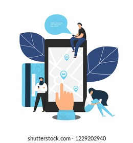 Carsharing concept of various people using mobile gadgets to rent a car via car sharing service. Hand holding smartphone with share app illustration.  Flat design.