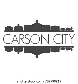 Carson City Nevada USA Skyline Vector Art Mirror Silhouette Emblematic Buildings