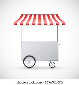 Cart with awning. Mobile street food delivery. Shop on wheels. Vector illustration