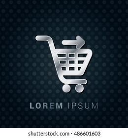 Cart Checkout 3D Silver/Platinum/Steel Metallic Premium Icon / Logo Design