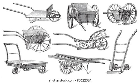 Cart collection / vintage illustration from Meyers Konversations-Lexikon 1897