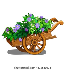 A cart filled with flowers isolated on white background. Vector cartoon close-up illustration.