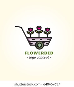 Cart with flowers. Flowerbed. Logo concept for flower market.