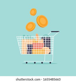 Cart with groceries and money, shop. Shopping. Flat design vector illustration.