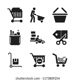 cart icon. 9 cart vector icons set. trolley, shopping basket and groceries icons for web and design about cart theme