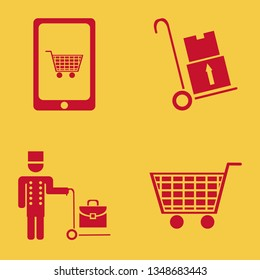 cart icon set with shopping cart, mobile shopping and handcart vector illustration