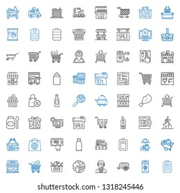 cart icons set. Collection of cart with trolley, online shopping, doorman, products, shopping cart, store, wheelbarrow, food stall, mall, mobile shopping. Editable and scalable icons.
