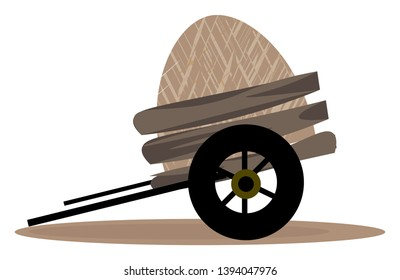 A cart loaded heavy which is ready to departure vector color drawing or illustration