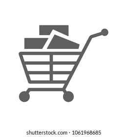 Cart with product icon vector