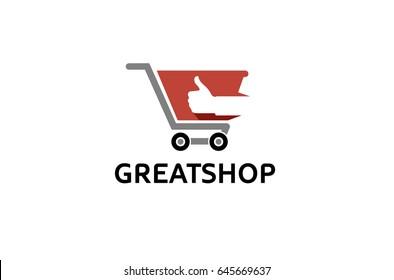 Cart Shop Thumb Logo Design Illustration