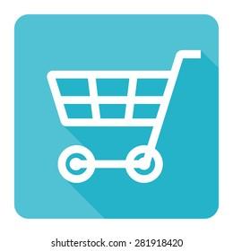 Cart shopping icon vector illustration on blue background (flat design)