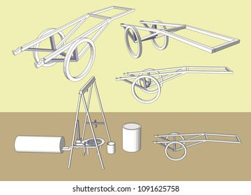 Cart in Small industry vector & Illustration