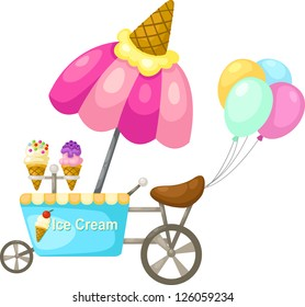 cart stall and a ice cream. Vector illustration  on white background