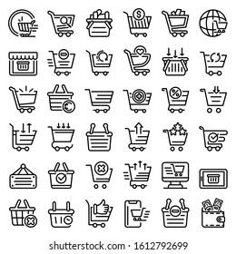 Cart supermarket icons set. Outline set of cart supermarket vector icons for web design isolated on white background