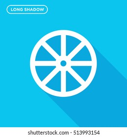 Cart wheel vector icon on blue background with long shadow, isolated