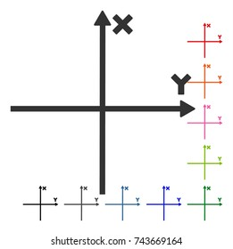 Cartesian Axes icon. Flat gray iconic symbol inside a blue rounded square. Black, gray, green, blue, red, orange color variants of Cartesian Axes vector. Designed for web and software interfaces.