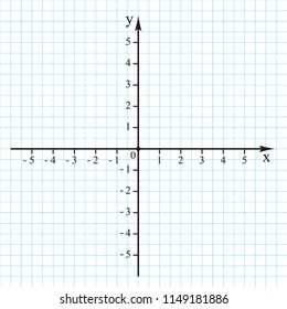 Cartesian coordinate system in the plane from 0 to 5 on the graph grid paper. Vector.