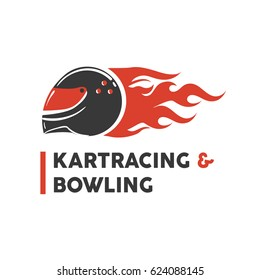 Carting club or kart races and bowling vector logo template. Isolated icon of racer driver safety helmet with fire. Badge for motor sport championship tournament or kart racing and bowling.