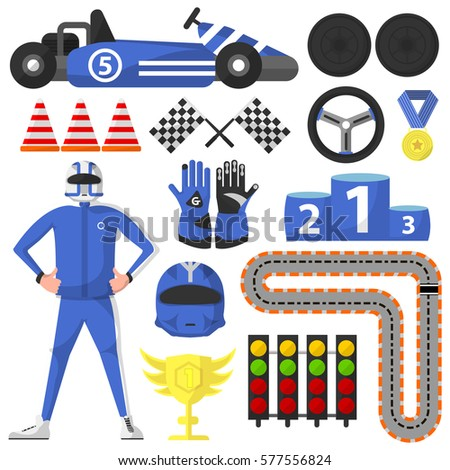 Carting Rally Car Victory Symbols Collection Stock Vector Royalty