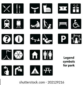 Cartographic symbols in the park. Vector illustration.