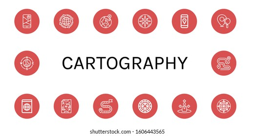 cartography icon set. Collection of Gps, Global, World, Compass, Location pin, Atlas, Maps, Destination, Windrose, Navigation, Route icons