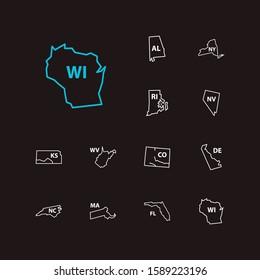 Cartography icons set. Alabama and cartography icons with new york, landscape, florida. Set of island for web app logo UI design.