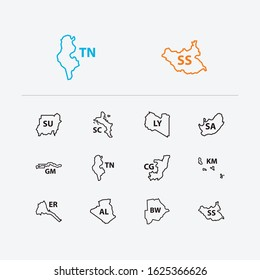 Cartography icons set. Algeria and cartography icons with the gambia, tunisia and south africa. Set of patriotic for web app logo UI design.