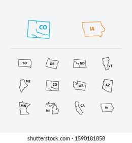 Cartography icons set. Arizona and cartography icons with view, north dakota and american. Set of south for web app logo UI design.