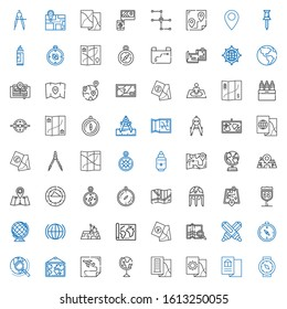 cartography icons set. Collection of cartography with compass, map, earth globe, route, explore, marker, position, global, street map. Editable and scalable cartography icons.