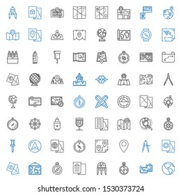 cartography icons set. Collection of cartography with earth globe, maps, compass, map, pin, route, navigator, wind rose, explore, marker. Editable and scalable cartography icons.