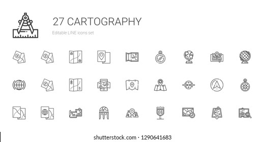cartography icons set. Collection of cartography with map, route, maps, earth globe, compass, mobile map, global, street map, wind rose. Editable and scalable cartography icons.