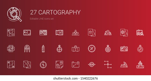 cartography icons set. Collection of cartography with map, compass, route, wind rose, marker, earth globe, mobile map, maps, position. Editable and scalable cartography icons.