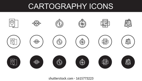 cartography icons set. Collection of cartography with map, compass, mobile map, street map. Editable and scalable cartography icons.