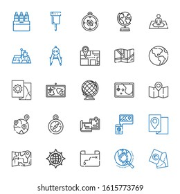 cartography icons set. Collection of cartography with map, explore, compass, maps, geolocalization, earth globe, position, pin, markers. Editable and scalable cartography icons.