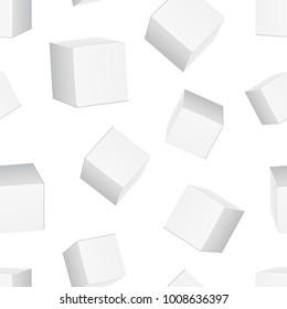 Carton 3d box seamless pattern background. Business flat vector illustration. Box  sign symbol pattern.