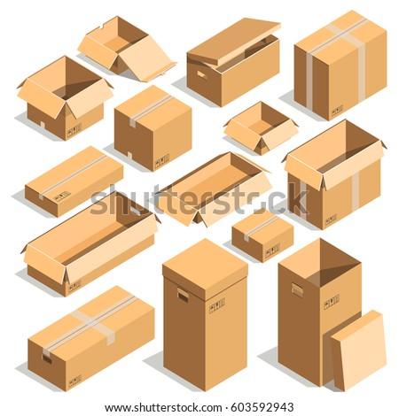 Carton box cardboard post packages templates stock vector royalty carton box or cardboard post packages templates vector isolated icons of open and close shipping maxwellsz