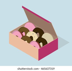 Carton box with different donuts. Vector isometric illustration.