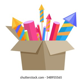 Carton box full of bright pyrotechnics isolated on white. Collection of cartoon fireworks in paper container. Flat vector illustration of explosive holiday equipments for Christmas and New Year