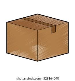carton box icon over white background. draw and sketch design. vector illustration