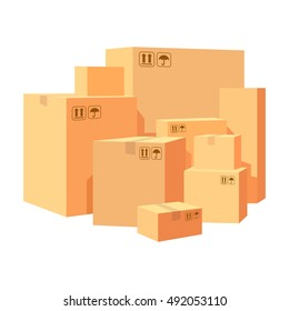 Carton boxes delivery packaging. Pile various of stacked goods cardboard boxes. Vector illustration isolated on white background.