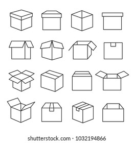 Carton boxes icon set. Paper box collection for packaging goods and materials, used for sending items through the postal services. Vector line art illustration isolated on white background