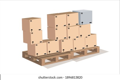 Carton boxes on wooden pallet isolated on white background