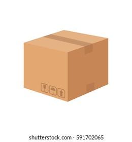 Carton cardboard box delivery concept, vector illustration