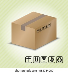 Carton container with Package Handling Symbol. vector illustration.