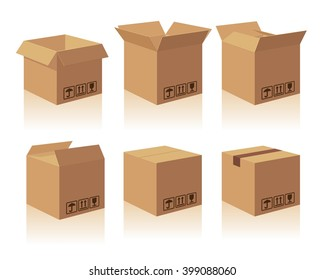Carton delivery packaging open and closed box with fragile signs. Vector illustration isolatedon white background for web, icon, info graphic.