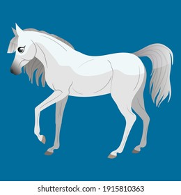 The carton horse runs at a gallop. Isolated vector illustration. Pony illustration for children's book.