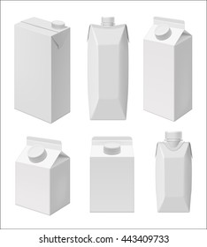 Carton milk or juice pack template. Blank packaging isolated on white background. Mock up layout design. Drink carton packaging vector isolated. Juice or milk packaging layout. Milk carton box.