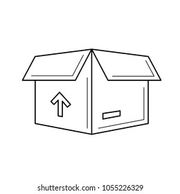 Carton package box vector line icon isolated on white background. Open carton delivery box with fragile signs line icon for infographic, website or app.