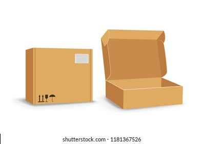 Carton packaging box. Brown delivery set of different sized packages with postal signs of fragile vector illustration. Set of closed and open cardboard boxes on white background.