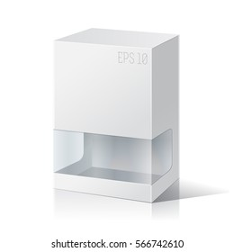 Carton Or Plastic Blank Package Box with a transparent plastic window. Illustration Isolated On White Background. Ready For Your Design. Product Packing Vector.